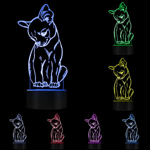 Image 5 - Cute Little Dog Chihuahua Breed Portrait 3D Optical illusion Night Light With Color Changing Animal Pet Puppy Bedroom Table Lamp