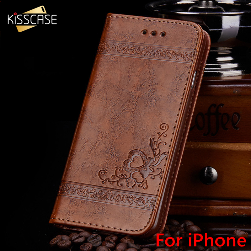 KISSCASE Luxury Flip Leather Case For iPhone 7 6 6s Plus 5 5s se 3D PU Wallet Silicone Back Cover For iPhone 6 6s Case iPhone 7