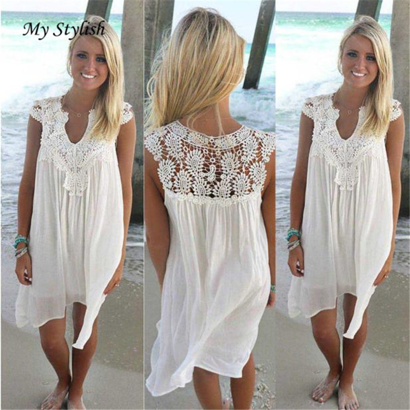 1PCS Women Dress Summer 2018 New Fashion Sleeveless Womens Loose Summer Beach Lace Dress High Quality Wholesale Plus Size Jan 9 1