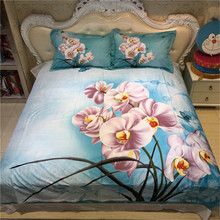 Beautiful Home Textiles Flower and Butterfly Moth Orchid Blue Bedding Set Duvet Cover Pillowcase Bed Sheets for Queen Size Bed