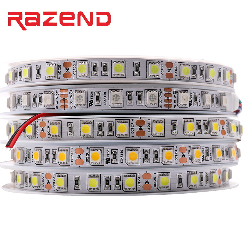 Epistar LED Chip 5050 led strip Natural white/Warm white /RGB DC12V 60LEDs/m 5m Flexible LED Light LED Tape High brightness lamp usb high brightness flexible white light led clip lamp silver white