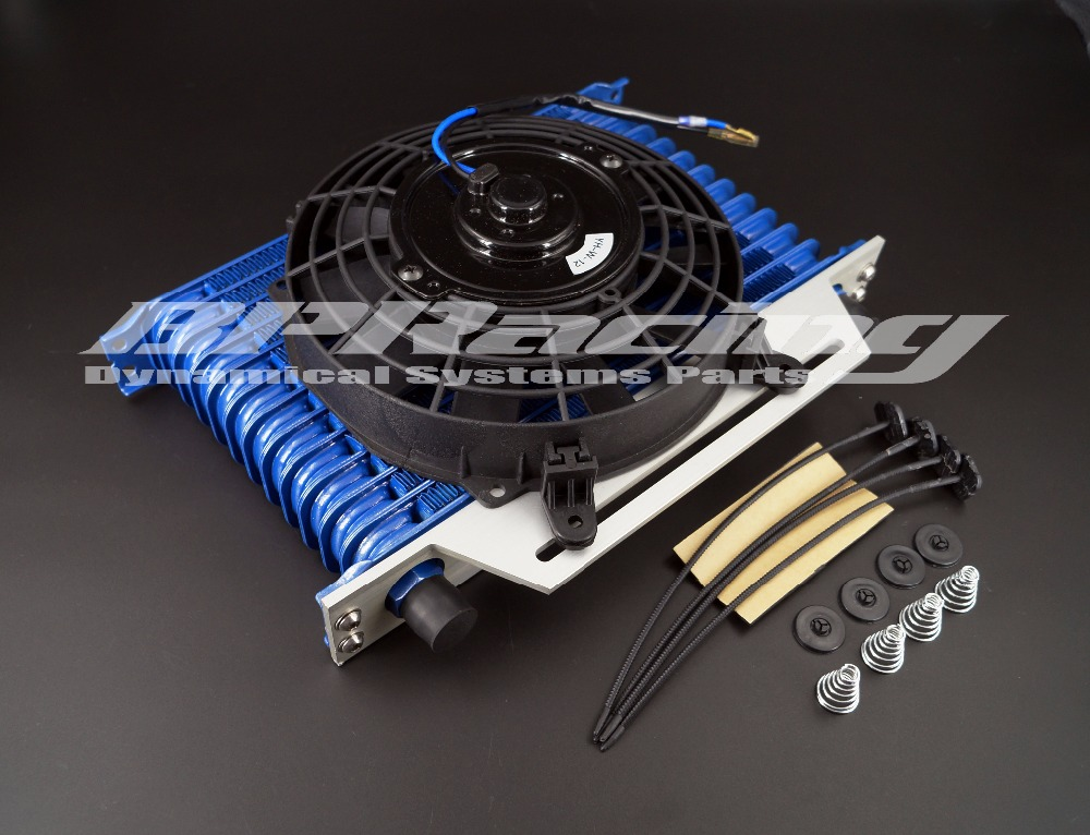 13 row 10 AN engine oil cooler / universal 13 row oil cooler Blue + MOUNTING BRACKET + FAN universal 25 row jdm engine oil cooler kit sandwich plate for billet ls1 ls2