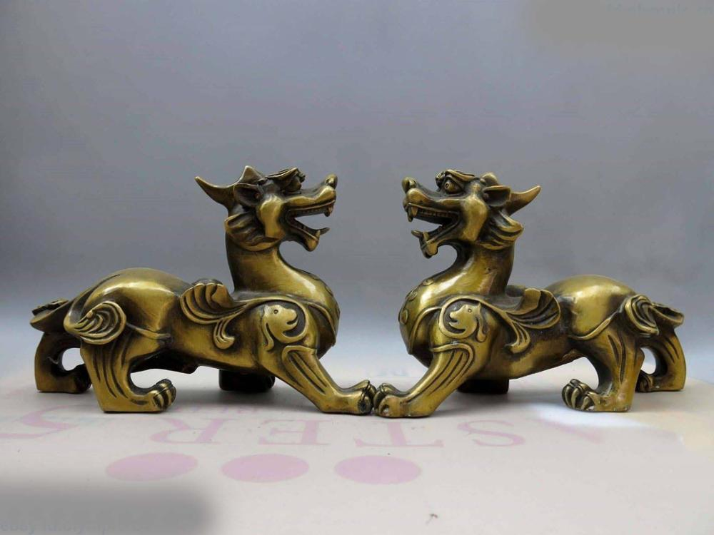 DS China Brass Copper Carved Beautiful Guard Foo Dogs Lion Pair Sculpture Statue