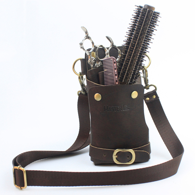 Genuine Leather Hair Scissors Bag Professional Hairdresser Case For Scissors Barbershop Belt Styling Accessories