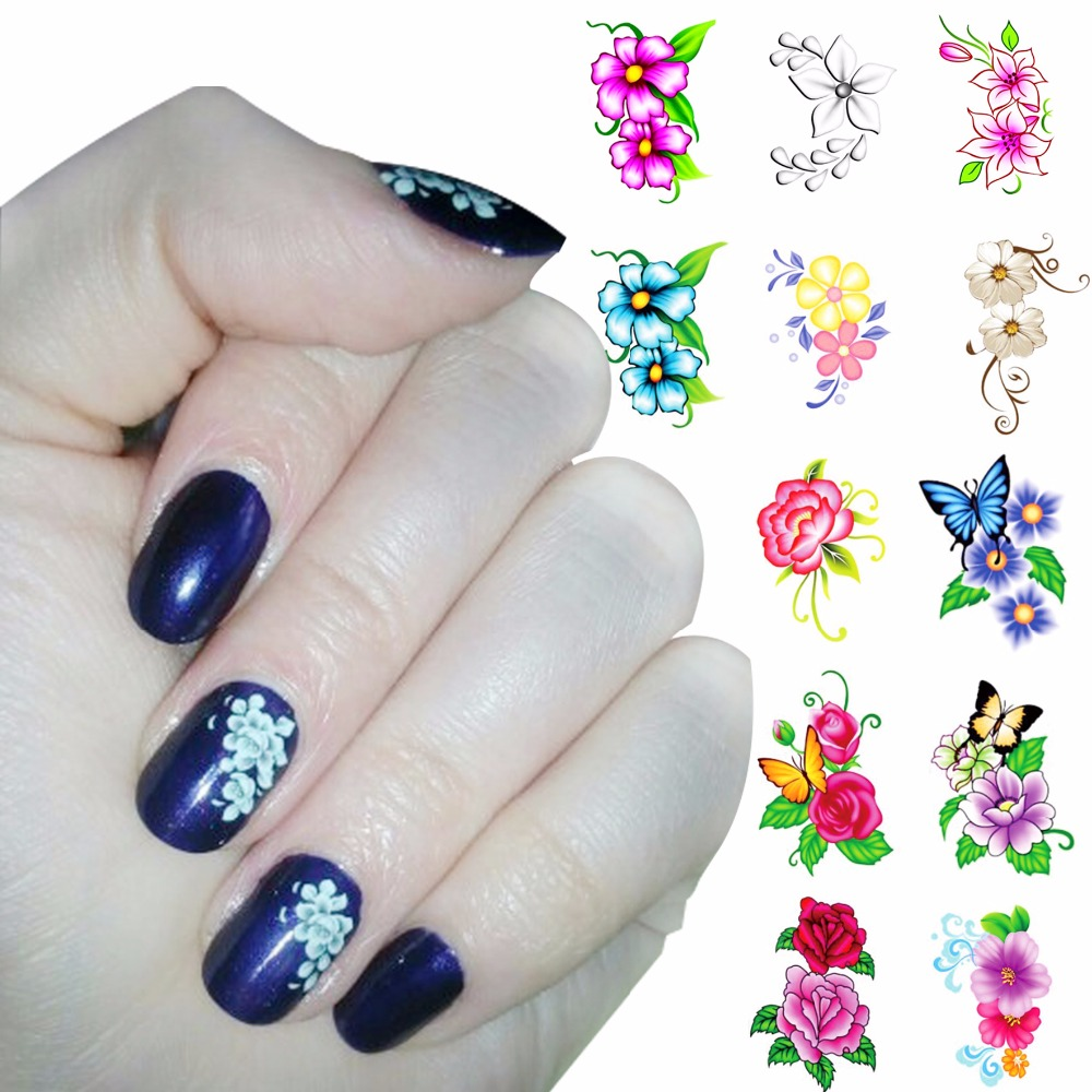 ZKO 1 Sheet Optional Flower Designs Nail Water Decals Butterfly Water Transfer Stickers Nails Tools For Nails zko 1 sheet nail art wrap water transfer nails sticker butterfly series water decals stickers decoration tools wraps a1297 1308