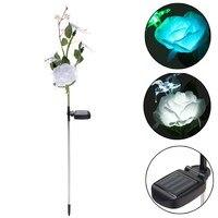 Solar Power Rose Flower 3 LED Lawn Light Solar Light Waterproof Outdoor Garden Landscape Garden Lamp DC 2.4V