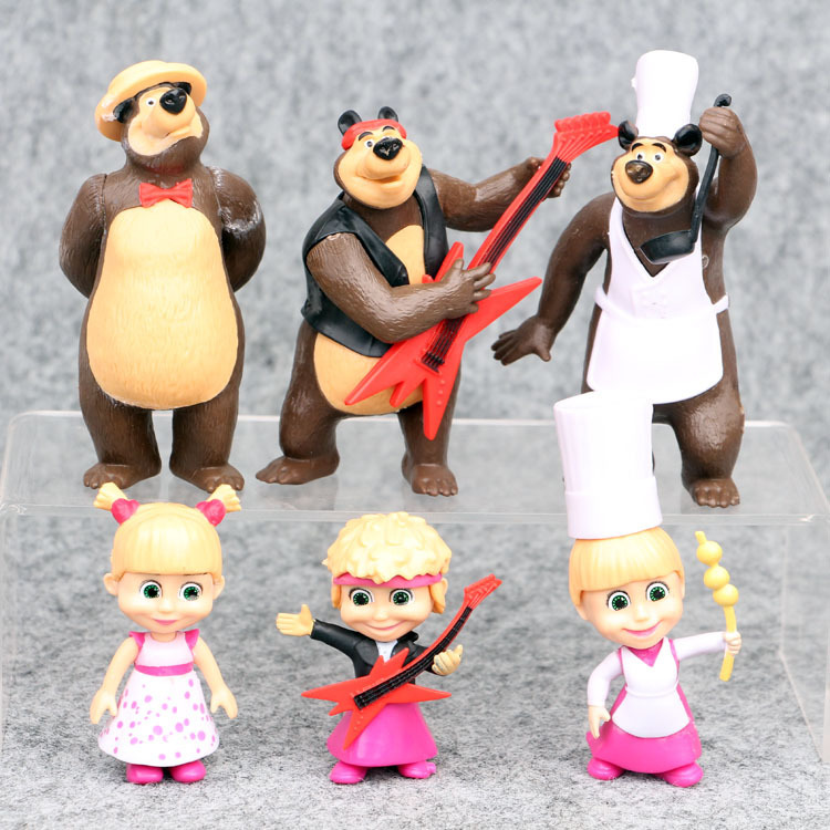Bonus Assorted Stickers Masha and The Bear Playset 10 Pcs Figures Doll Toys Party Favor Cupcake Topper