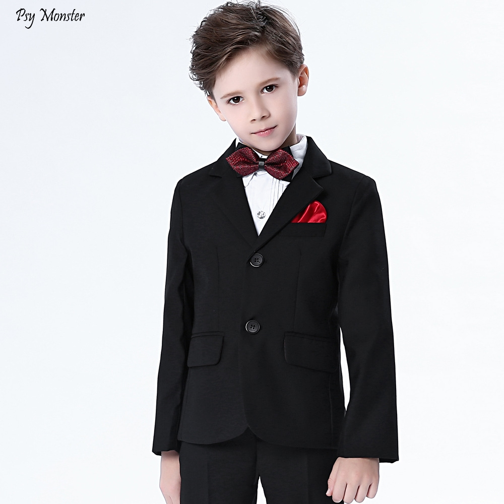 4pcs Children Formal Suits Sets Flower Boys Dresses Piano Party Prince Costumes  Kids Tuxedo Shirts Pants Bowtie Outfits