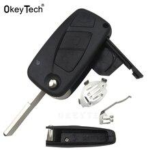 Флип ключ чехол для дистанционного ключа от машины корпус для FIAT 500 Punto Ducato Stilo, Panda Doblo Bravo 3 кнопки, необработанное лезвие авто ключ пустой чех...