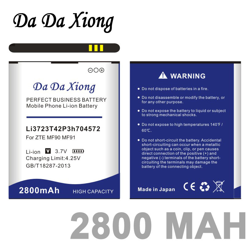 Da Da Xiong 2800mAh Li3723T42P3h704572 <font><b>Battery</b></font> for <font><b>ZTE</b></font> MF91 <font><b>MF90</b></font> <font><b>battery</b></font> image