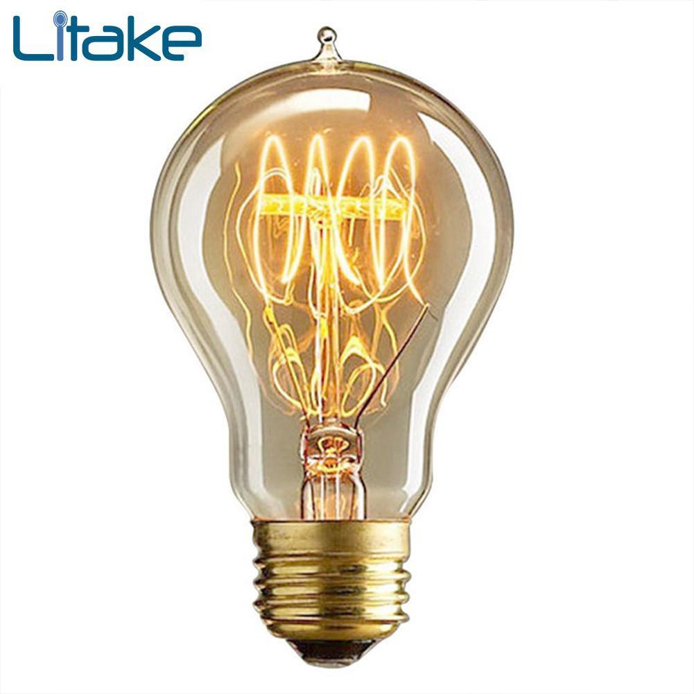 Litake Retro Edison Tungsten Filament Bulb Creative LED E27/E26 Screw Cap Light Adjustable Incandescent Pointed Tip Bulb