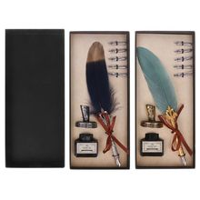 лучшая цена Vintage Feather Quill Dip Pen Fountain Pens With Ink +5 Nibs Set Stationery Gift