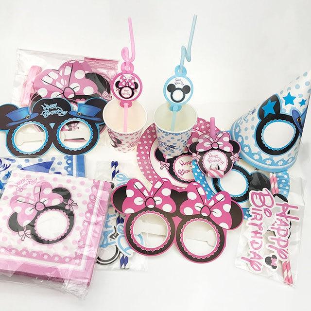 US $0.94 5% OFF|Mickey maus kinder geburtstag party liefert Minnie maus  party dekoration sets papier girlande platten tassen baby dusche liefert in  ...