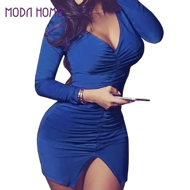 94c5a7981d New Women Sexy Bodycon Bandage Dress Ruched Split Hem Mini Dress Deep V  Neck Long Sleeves Sheath Club Party Dress Red/Blue/Pink