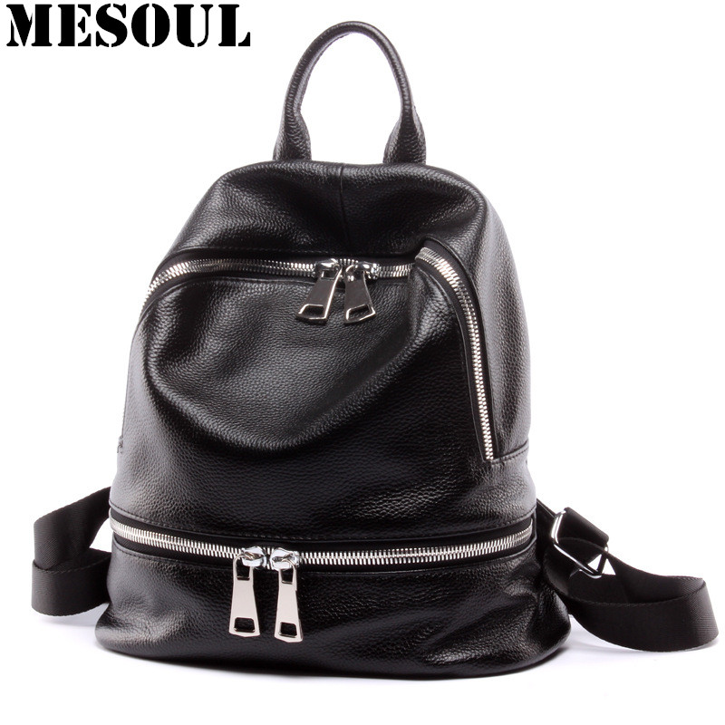 Black Backpack Women Genuine Leather Backpack School Bags Lady Fashion Travel Shoulder Bag Designer backpacks for teenage girls wmnuo women backpack cow leather for girls school bags fashion shoulder bag mochila designer travel bag casual computer backpack