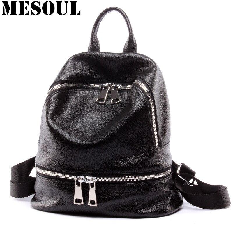 Czarny plecak kobiety prawdziwej skórzany plecak torby szkolne pani mody podróży torba na ramię projektant plecaki dla nastolatek dziewczyny w Plecaki od Bagaże i torby na  Grupa 1