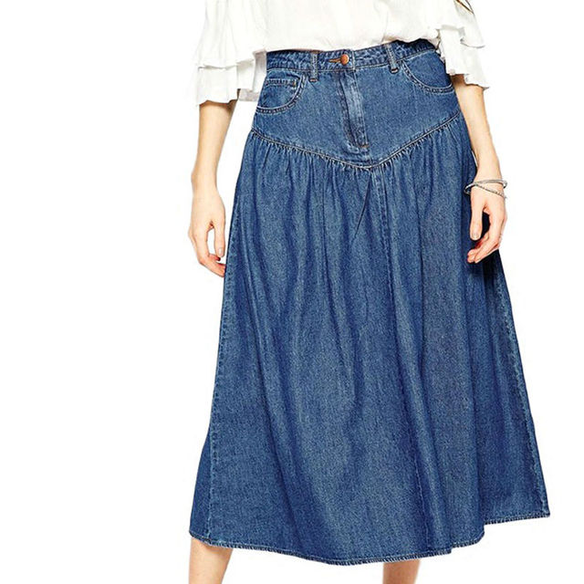 Women denim skirt jeans high waist vintage pleated midi skirts with pockets for women WL284