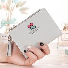 New ladies short wallet vertical cherry tassel zipper coin purse 2019 explosion models quality assurance