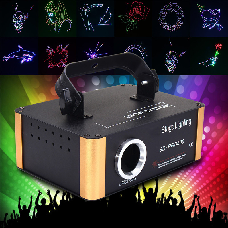 Smuxi Mini 500mw RGB SD DMX Animation Patterns Laser Projector DJ Club Home Party Bar Stage Light Lamp