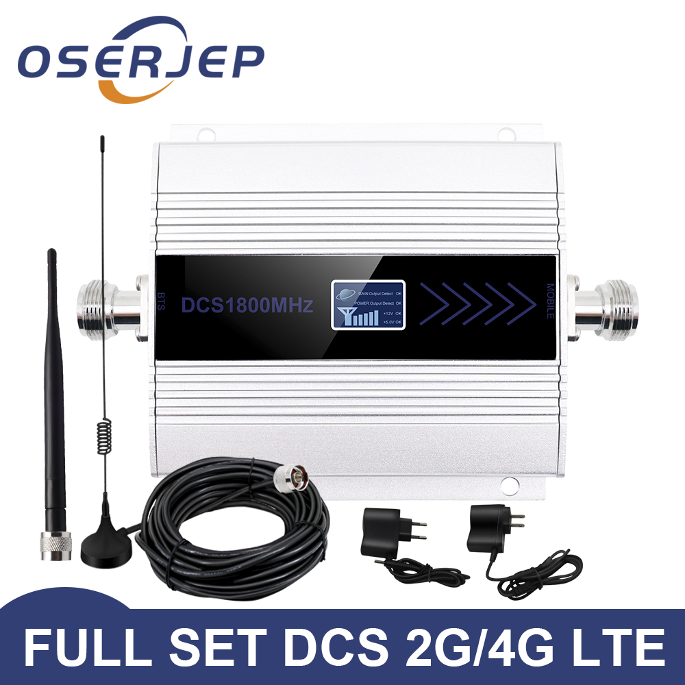 OSERJEP Kit 4G LTE Mobile Signal Booster Repeater 1800Mhz Cellphone Cellular GSM 1800 Cell Phone LCD