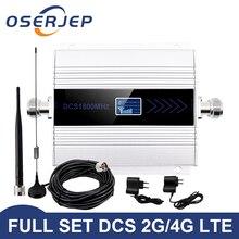 Комплект OSERJEP 4G LTE band3 усилитель сигнала мобильного телефона ретранслятор 1800 МГц сотовый GSM 1800 Сотовый телефон ЖК дисплей + антенна на присоске