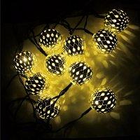 FUNIQUE 1Set String 1 4m Hollow Ball Solar Energy Lights Christmas Light Christmas Decorations For Home