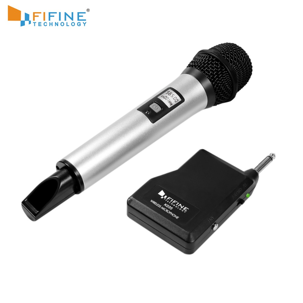 Fifine Wireless Microphone System Selectable UHF Channels With Portable Receiver 1/4'' Output For Family Part KTV Bar Music K035