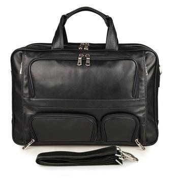 new arrived Genuine  Leather business men bag large  male bag 17 inch computer Messenger bag latop Briefcases