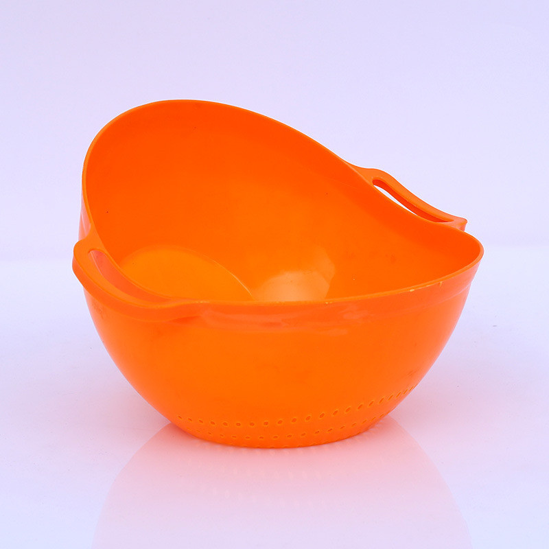 Durable Kitchen Rice Bowl Plastic Fruit Bowl Thick Drain Basket with Handle Washing Basket for Home Kitchen Supplies in Colanders Strainers from Home Garden