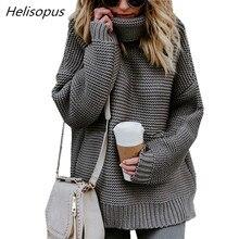 Helisopus 2018 mujeres del invierno del otoño suéter de Color sólido cuello alto  suéteres de manga larga Mujer Casual suéteres 1052dc29426e