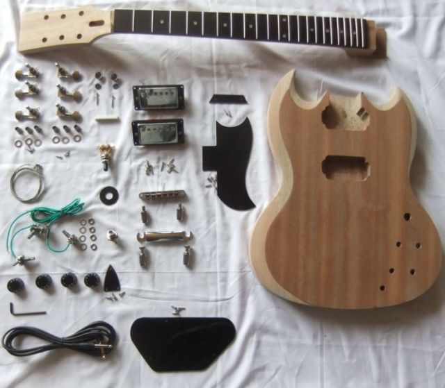 SG-400 2 Dual-coil Pickups Unfinished DIY Mahogany Body Electric Guitar