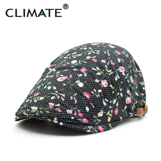 CLIMA nuovo Nuova Primavera Adulto Fiori Rosa Stampa Artista Cotone Caps  berretto Unisex Uomini Giovani Donne 5b223b1b2d9a
