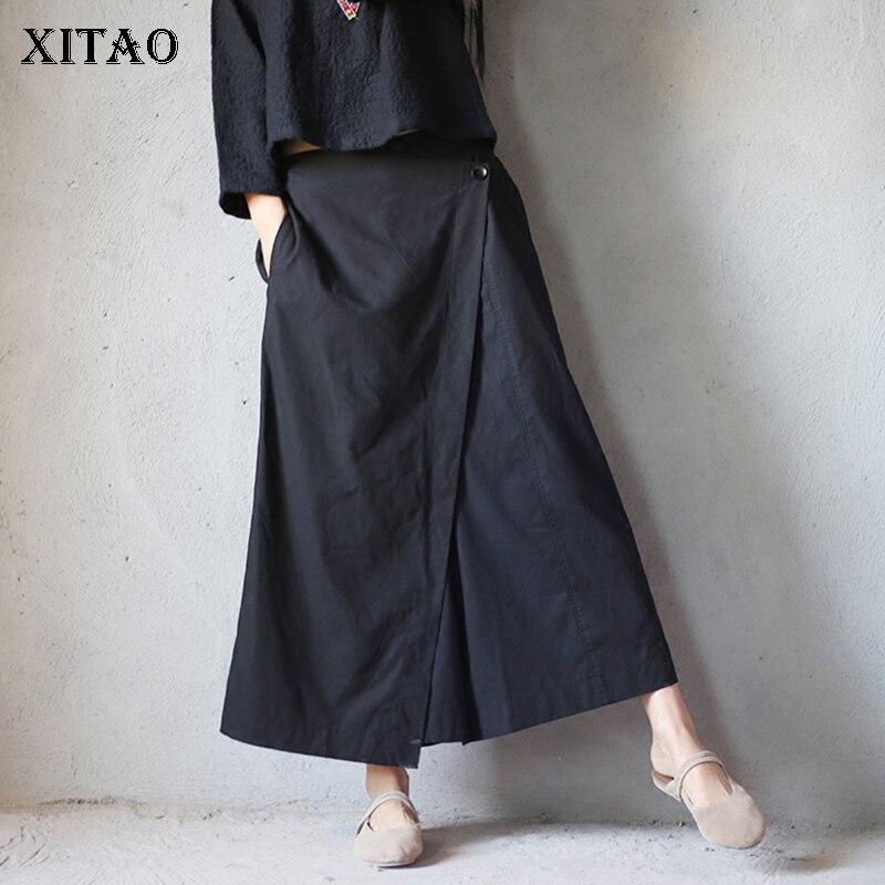 [XITAO] 2018 Europe Summer New Fashion Women Elastic Waist False Two Pieces Loose Irregular Full Length Wide Leg Pants KZH880