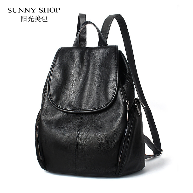 SUNNY SHOP Casual School Backpacks For Women PU Leather School Bag Fashion Bagpack For Girls rucksacks