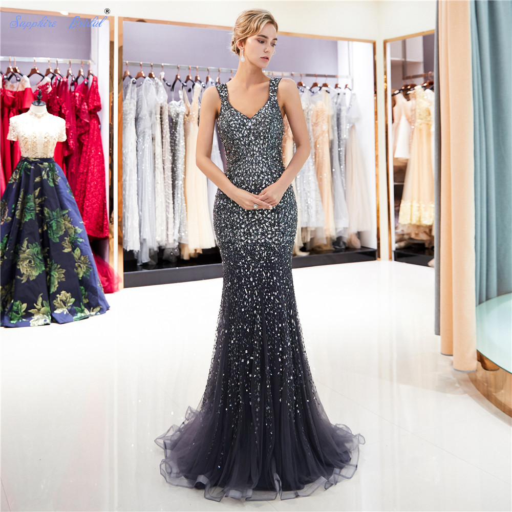 Sapphire Bridal 2019 New Sexy Sparkly Long Formal Gowns Vestido De Festa Sexy Grey Gold Huge Beaded Back Illusion   Evening     Dress