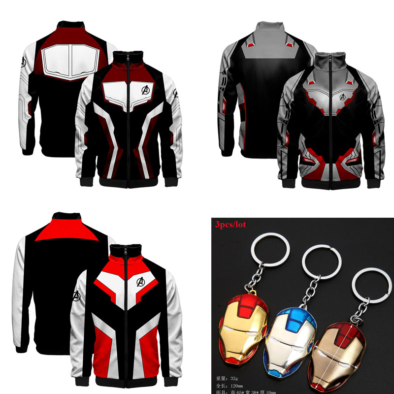 Adult Kids Avengers 4 Endgame Quantum Realm Sweatshirt Zipper Jacket Advanced Tech Halloween Cosplay Costumes Coat Accessory