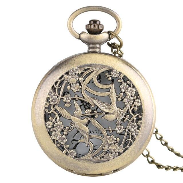 2017 New Arrival Bronze Classic Hollow Magpie Men Women Quarzt Pocket Watch Vint