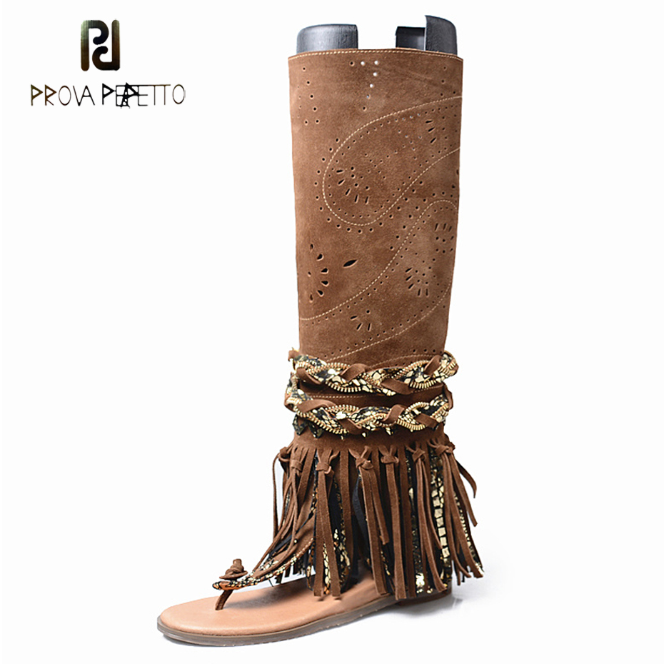 Prova Perfetto suede fringe clip toe sandals boots women carving hollow side zip flat heel summer