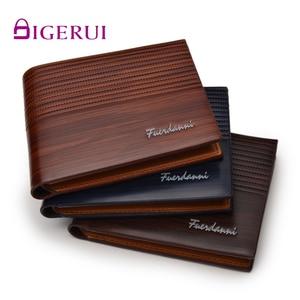 DIGERUI Top 2019 Vintage Men Leather Brand Luxury Wallet Short Male Purses Money wood grain Clip Credit Card Multi-card position(China)