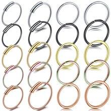 1PC Steel 20G 22G Dainty Faux Nose Rings Fake Septum Hoop Nostril Piercing Rook Clip on Oreja Piercings Jewelry