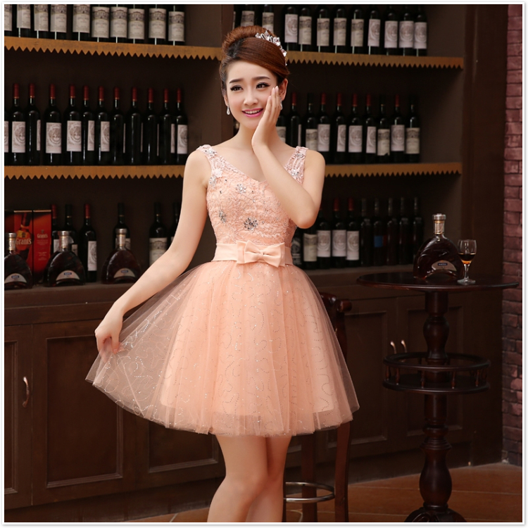 2016 Hot a-ligne v-cou perlée à lacets/Corset dos Tulle courte robe de bal de haute qualité pas cher robe de bal