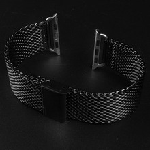 Black Stainless Steel Strap Classic Buckle Adapter 38 42mm Watch Bands Watchbands