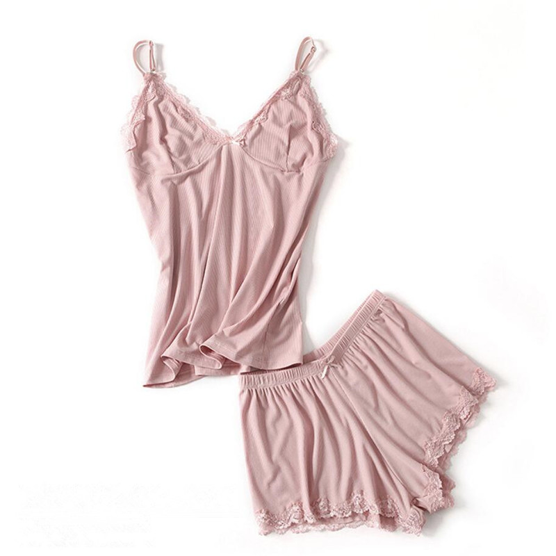 Women Cotton   Pajamas     Set   Sling Lace Sexy Lingerie Fashion Vest Shorts Pants Sleepwear Sleep Pants Summer Pyjamas Suits
