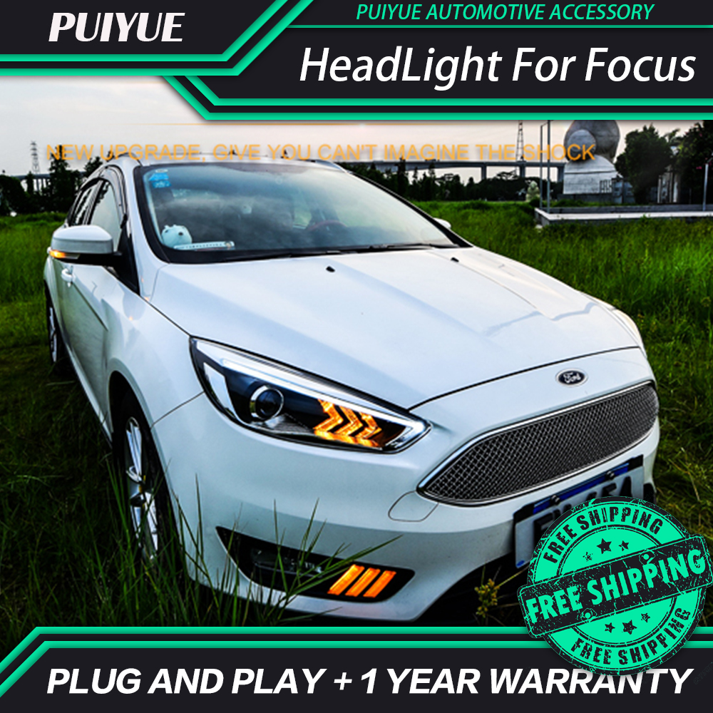 Puiyue car styling for ford focus headlight 2015 2016 mustan design led drl daytime running light bi xenon hid accessories in car light assembly from