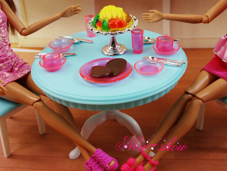 Dinner Tea Table Chair Refrigerator Set Dollhouse Dining Room Furniture Accessories Decoration For Barbie Kurhn
