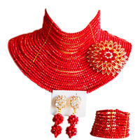 ACZUV Red 25layers Chocker Necklace Nigerian Wedding African Beads Crystal Party Jewelry Sets 25C 005