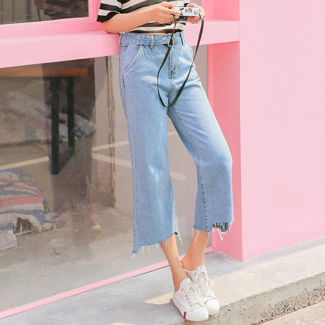 01435343da8 Women Jeans Step-hem Cuffs Denim Jeans Tassel Sashes Belt Straight Denim  Wide-leg Silhouette High Waist Jean Light Blue