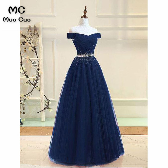 9e35f362f24 2018 Elegant Dark Blue Evening Dress Off Shoulder Prom Dresses Long Short  Sleeves Beaded Formal Evening Party Dress