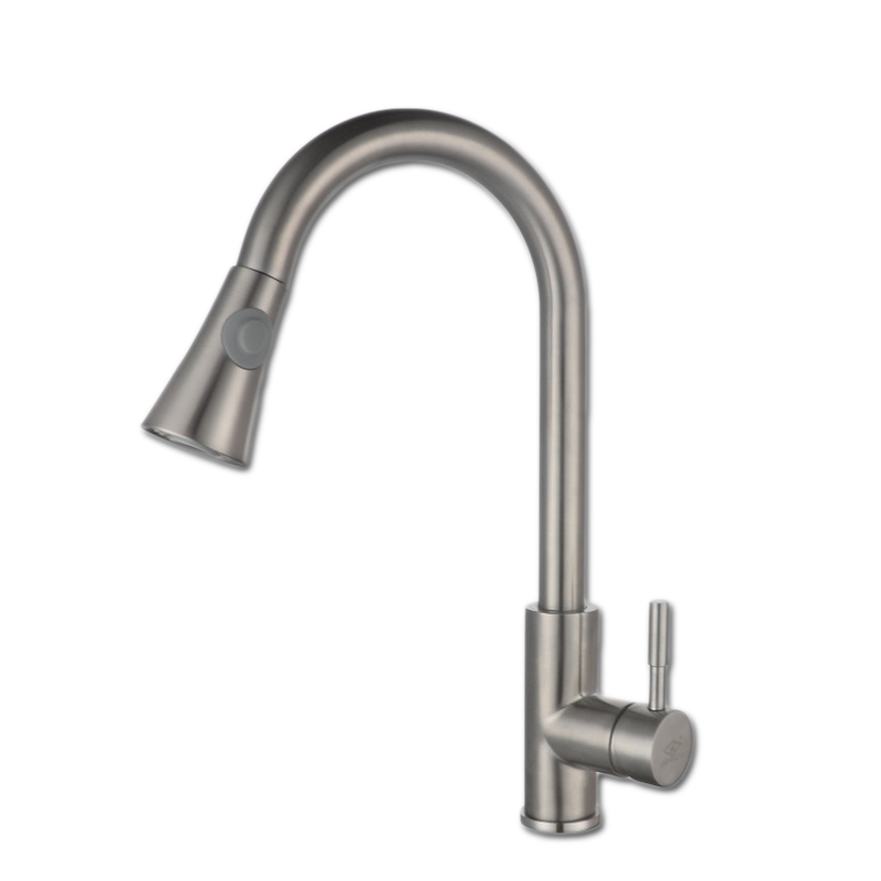 Free shipping pull out 304 stainless steel kitchen faucet with brushed finishing kitchen sink faucet by S.S304 kitchen water tap free shipping ciencia stainless steel brushed nickel undermount double bowl handmake kitchen sink with faucet for kitchen