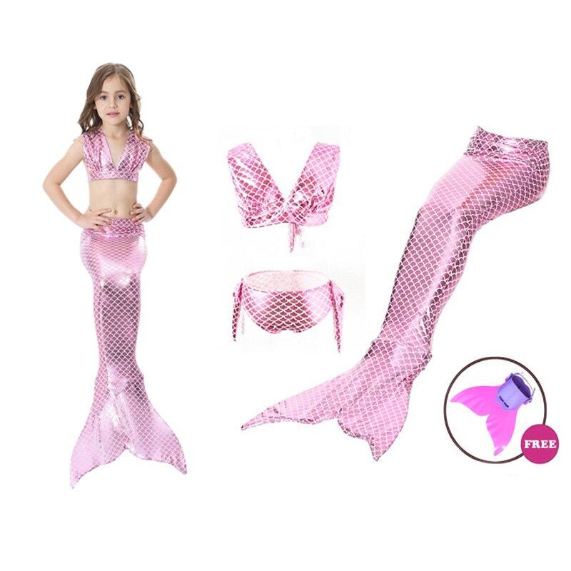 Été bébé filles natation queue de sirène Bikini ensemble avec Monofin Flipper nagable Zeemeerminstaart Met Costume de sirène pour les enfants